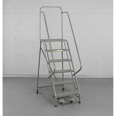 Ega L001 Steel Industrial Rolling Ladder 2-step 16 Wide Perforated Gray 450