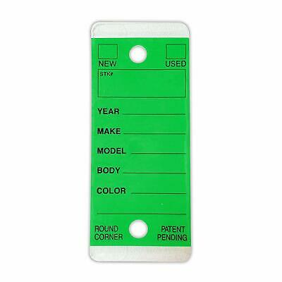 Car Dealer Key Tags Round Corner Self Laminating Green Color