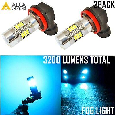 Alla Lighting 3200lm 8000K 27-LED H16 Fog Light Driving Bulbs Lamps Ice Blue