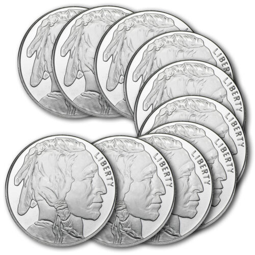1 oz Silver Buffalo Round .999 Fine (Lot of 10) SKU: 74758