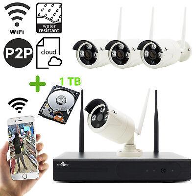 Funk Überwachungskamera Set 4CH Wlan Außen APP 4 Set + 1TB Festplatte Kameraset