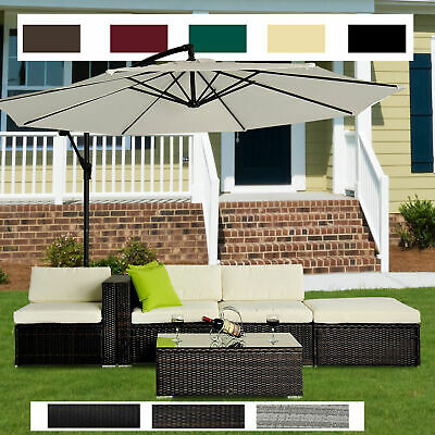 Garden Furniture - 5pc Rattan Wicker Garden Furniture Sofa Set or 3m Garden Banana Hanging Parasol