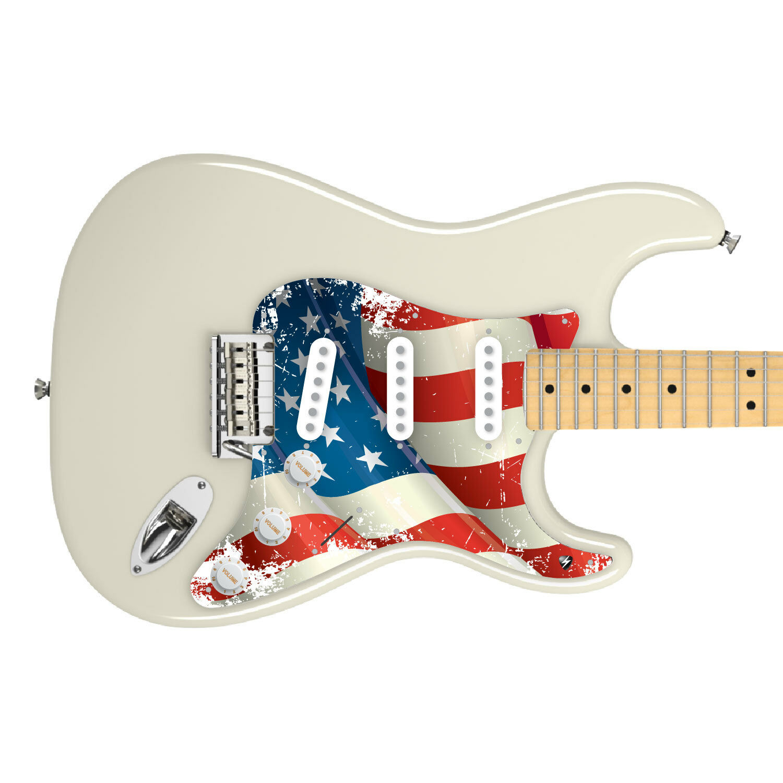 Fender Strat Custom Graphic Pickguard 8 11Hole Vintage US Flag by  Stormguitar