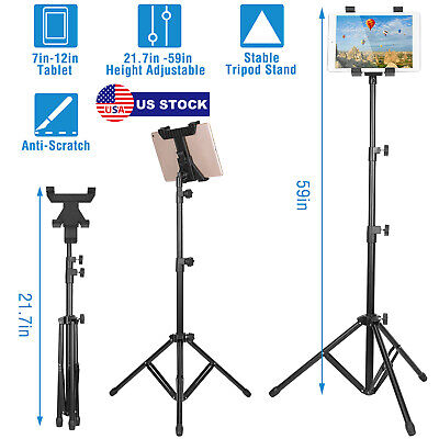 """For iPad 7-12"""" Tablet Foldable Floor Tablet Tripod Stand Mount Height Adjustable"""