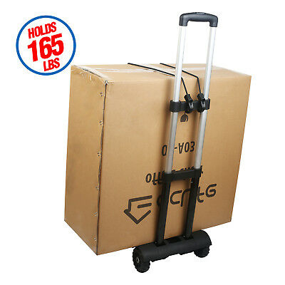 Cart Folding Truck 165lbs Dolly Push Hand Collapsible Trolley Luggage Aluminium