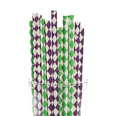 24 MARDI GRAS Fat Tuesday Party Supply PAPER Drinking Straws Harlequin Print  - Wholesale Mardi Gras Supplies