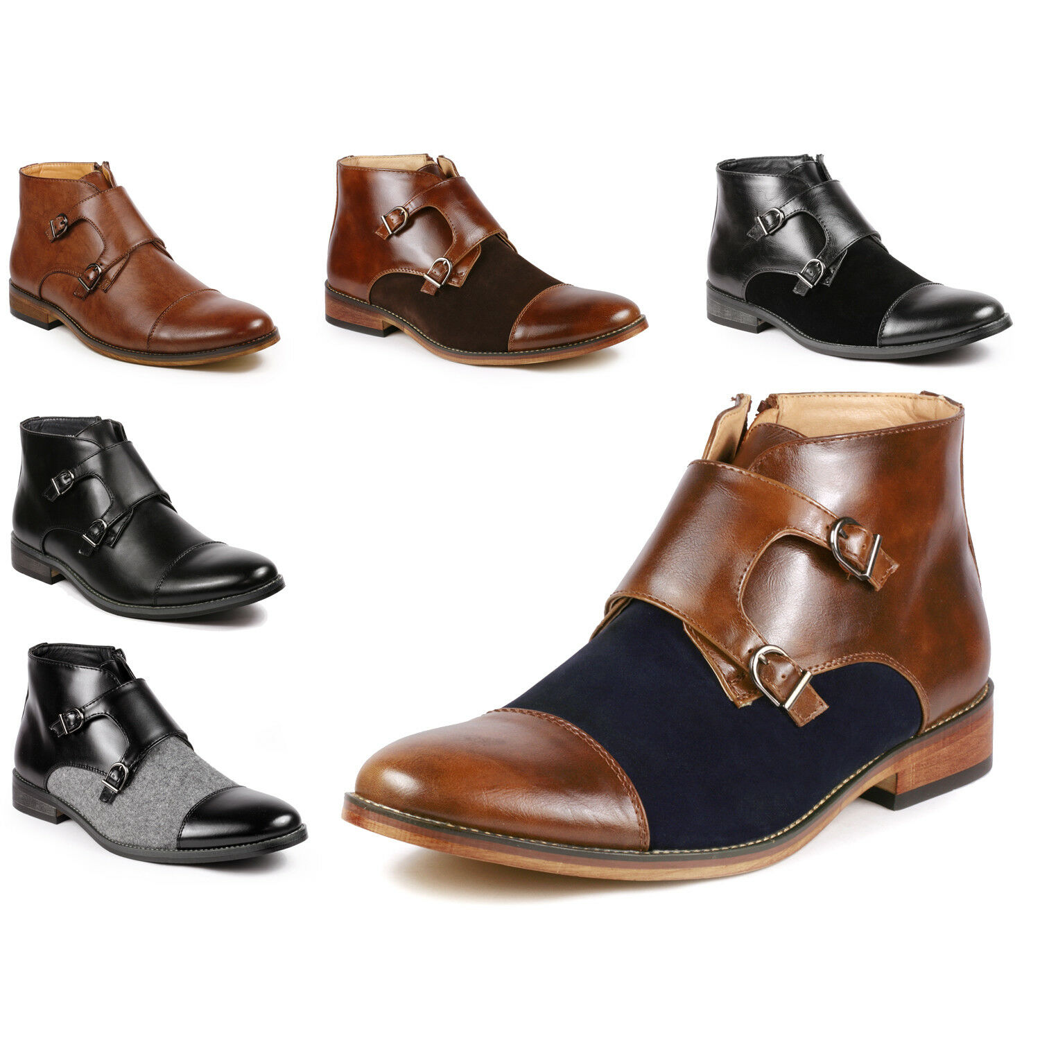 Metrocharm MC117 Men's Cap Toe Double Monk Strap Formal Dress Casual Ankle Boots