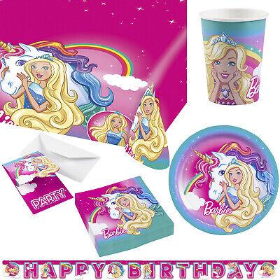 Barbie Geschirrset Geschirr Geburtstag Teller Becher Einladungskarten Tischdecke