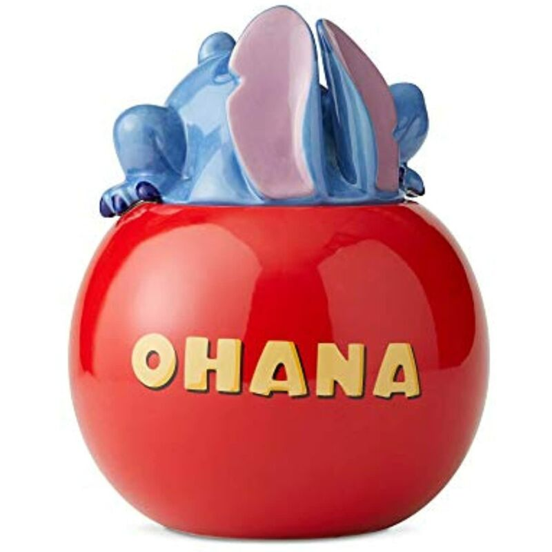 Disney Ceramics Lilo and Stitch Ohana Cookie Jar Canister, 10 Inch, Red
