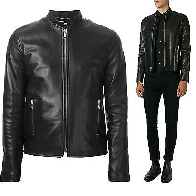 ★Giacca Giubbotto Uomo in di PELLE 100% Men Leather Jacket Veste Homme Cuir R50b