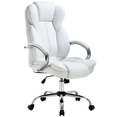 White High Back PU Leather Executive Office Desk Computer Chair w/Metal Base