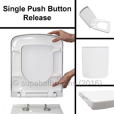 Square Design WC Toilet Seat Soft Close Top Fix Quick Release Hinge Easy Clean