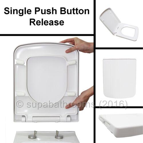 Square Design WC Toilet Seat Soft Close Top Fix Quick Release Hinge Easy Clea