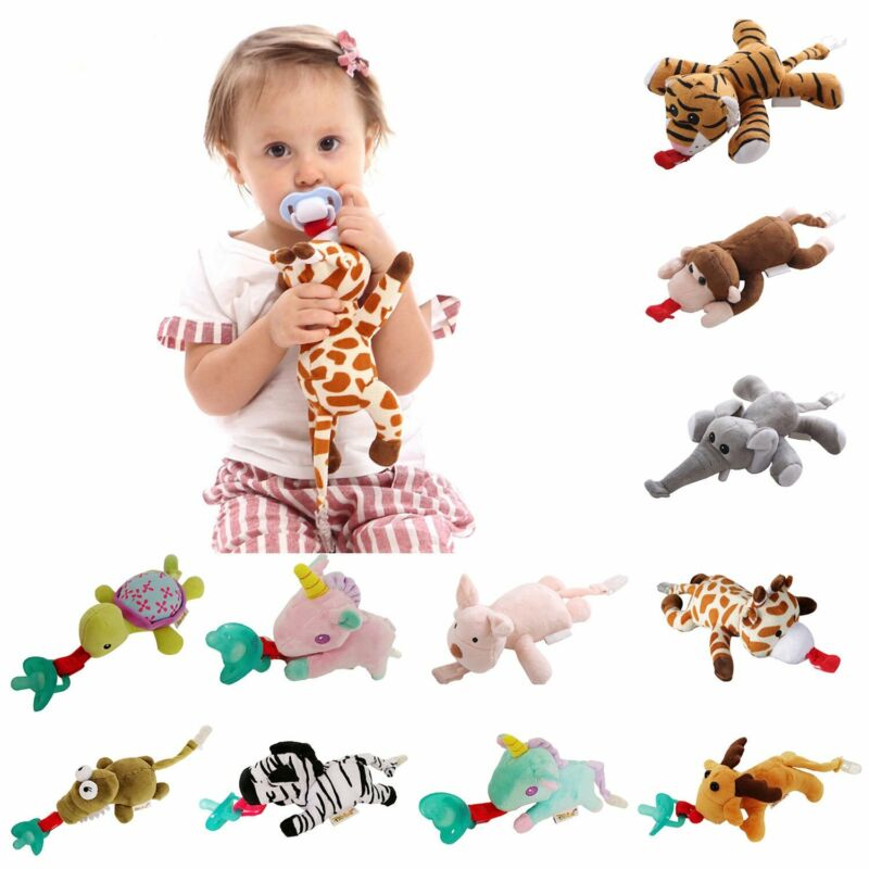 Lovely Baby Nipple Infant Silicone Pacifier w/ Cartoon Animal Plush Toy Doll WW