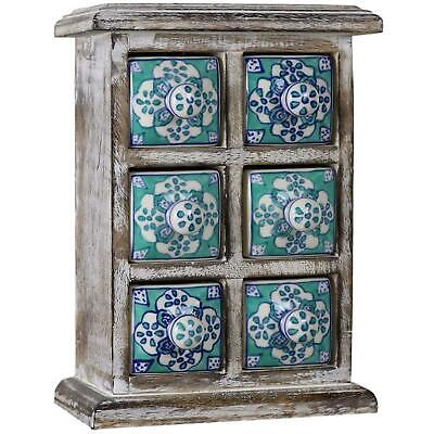 Desktop Chest of 6 Drawers Box Boxes Tabletop Jewelry Jewellery Decorative - Gre