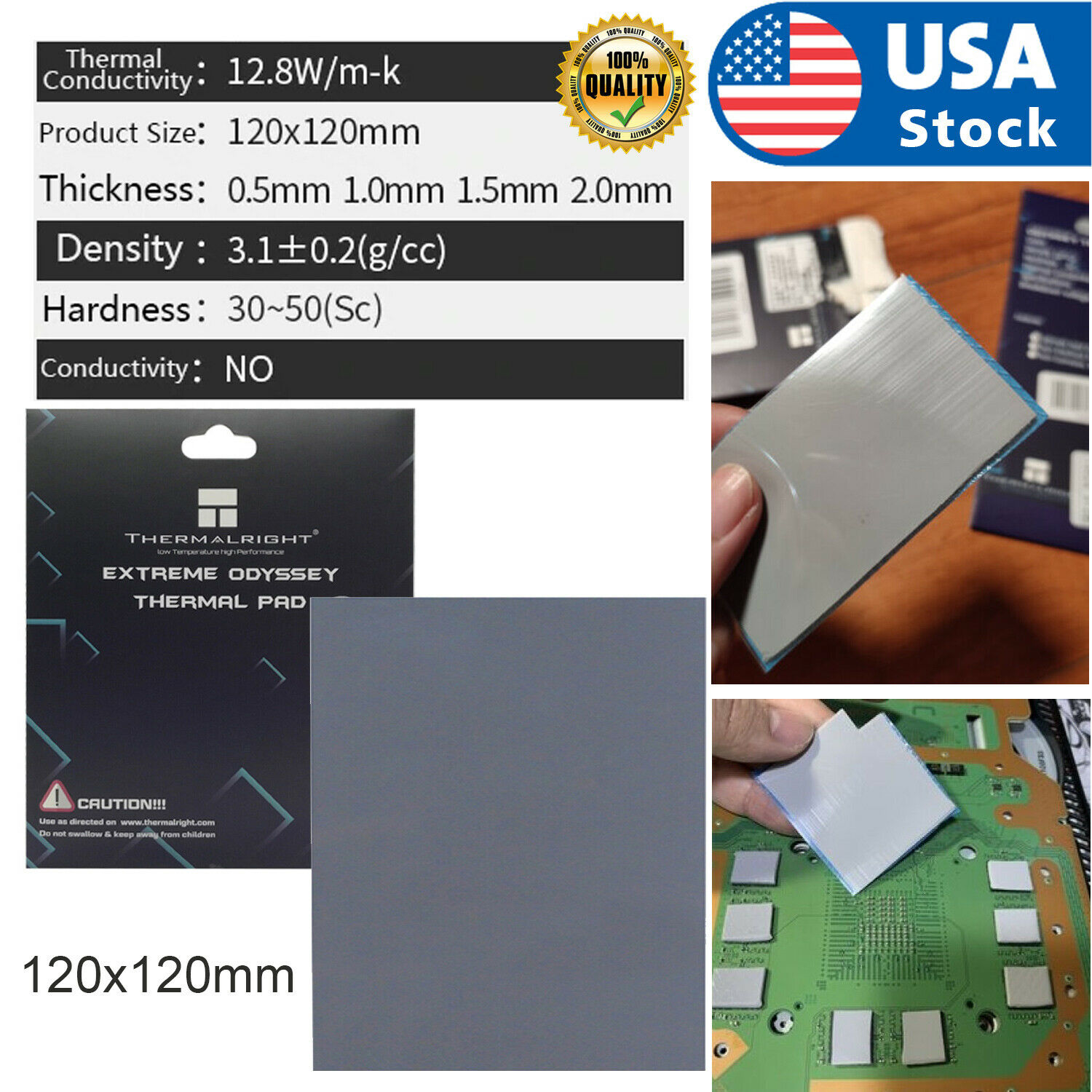USA Thermalright ODYSSEY Heat Dissipation Silicone Pad CPU/GPU Thermal 1/1.5/2mm Computer Components & Parts