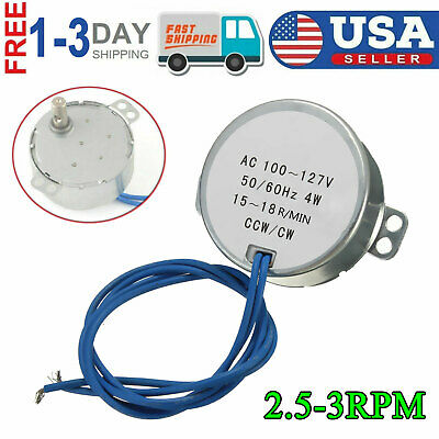 Ac 100-127v Synchronous Motor 2.5-3rpm 5060hz Cwccw 4w Torque For Microwave Us