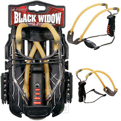 NEW Barnett BLACK WIDOW Powerful Hunting Slingshot Catapult  FREE .38 STEEL AMMO