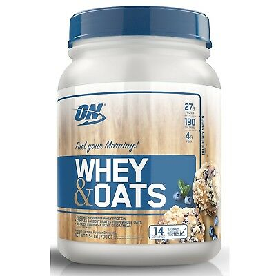 Optimum Nutrition WHEY & OATS 27g Protein 1.54 lb, 14 Servings BLUEBERRY MUFFIN for sale  Shipping to India