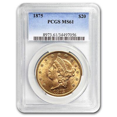 1875 $20 Liberty Gold Double Eagle MS-61 PCGS - SKU#161685