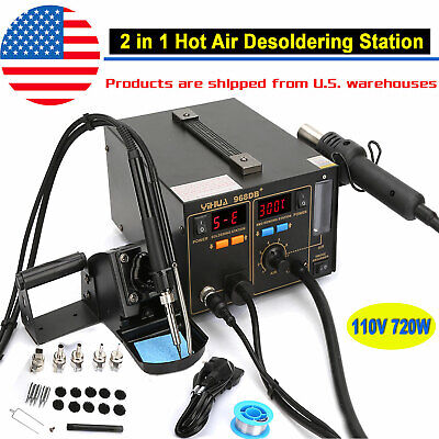 720w 2-in-1 Soldering Iron Hot Air Rework Station Desoldering Repair Tool 110v