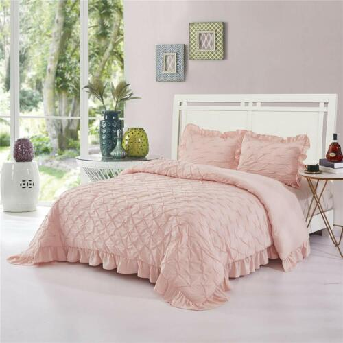 HIG 3 Piece Lace Ruffled Shabby Chic French Pastoral Style Comforter Set-Pink