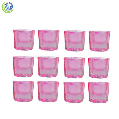 Glass Dappen Dish Pink Coated Acrylic Holder Container Dental Cosmetology 12pcs