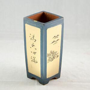 Zisha Square Cascade Bonsai Pot And Orchid Planter - Dark Blue  3.5