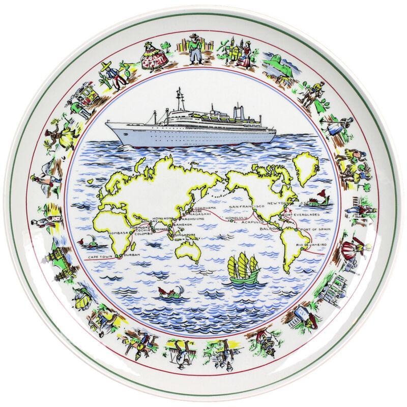 1971 Royal Goedewaagen Holland America Rotterdam Around The World Cruise Plate