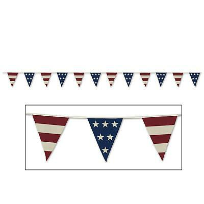 Fourth Of July Banner (4th of July Patriotic Party Decoration AMERICANA Fabric Pennant)