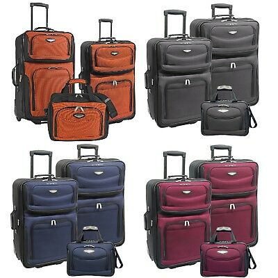 Amsterdam 3-Piece Light Expandable Rolling Luggage Suitcase Tote Bag Travel (Rolling Luggage Set)
