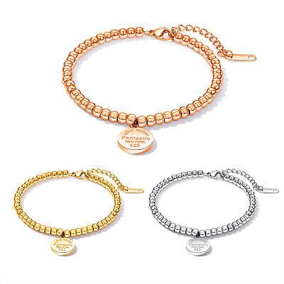 Women Charm Friendship Bracelet Stainless Steel Bead Chain Bangle Adjustable