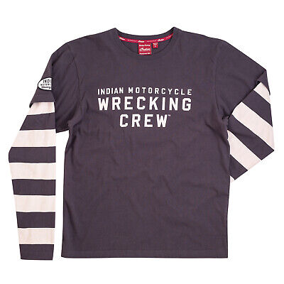 Indian Motorcycle Men's Long-Sleeve Wrecking Crew T-Shirt with Stripe, Gray, M