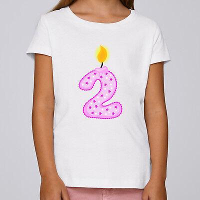 Mädchen Shirt Geburtstag (Kinder Mädchen T-Shirt Jahreszahl Geburtstag Feier Kerzen Geschenk Party Kuchen)