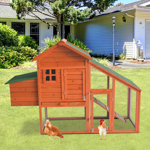 Wooden Chicken Coop Hen House Poultry Hutch Pet Cage w/ Nesting Box Backyard