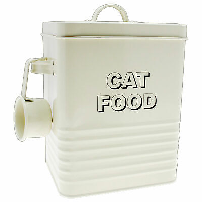 Cream 'Cat Food' Tin With Scoop Kitchen Container Kitten Animal Pet Treat Bin