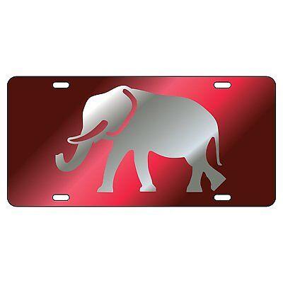 Alabama Crimson Tide Elephant (ALABAMA Crimson Tide Mirrored Elephant License Plate / Car Tag )
