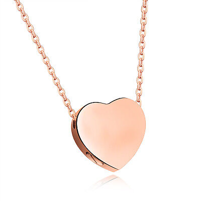 Rose Gold stainless steel Heart urn Pendant Necklace Chain W