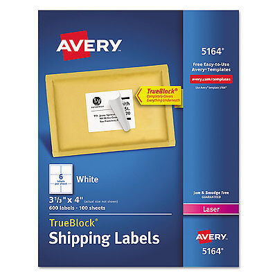 Avery Shipping Labels With Trueblock Technology Laser 3 13 X 4 White 600box