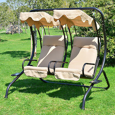 Outdoor Patio Swing Canopy 2 Person Seat Hammock Bench Yard Furniture Loveseat