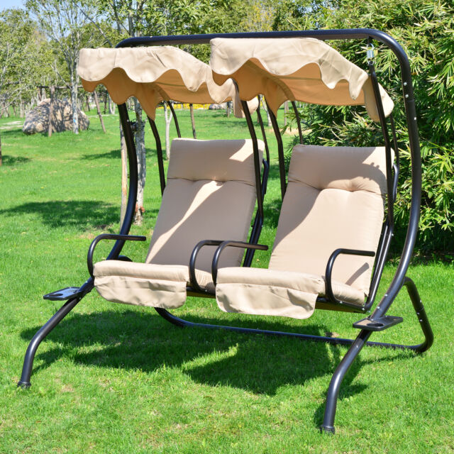 Great Outdoor Patio Swing Canopy 2 Person Seat Hammock Bench Yard Furniture  Loveseat Amazing Pictures