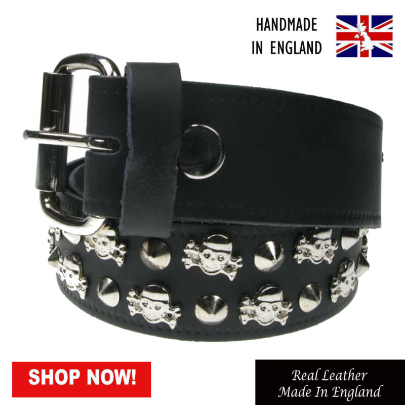 "38mm Conical Chain Studded 100/% Real Leather Belt Made In England Sizes 28/""-44/"""
