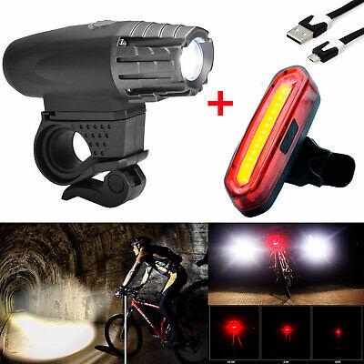 8cdcab3c584 Premium USB Rechargeable 1000 Lumen LED Bike Light Headlight Taillight Set
