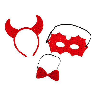 Lux Accessories Red Devil Crown Mask Ribbon Bow Polka Metallic Red Costume Set](Red Devil Accessories)