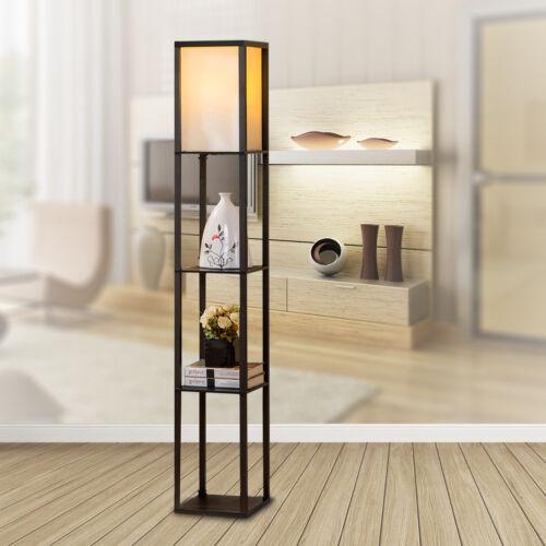 Floor Lamp Wood Shelf LED Light Black Shade Modern Style Sto