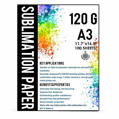A3 Sublimation Ink Paper 11.7''x16.5''100 Sheet All EPSON RICOH SAWGRASS Printer