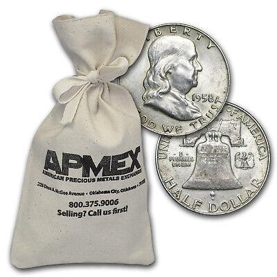 90% Silver Franklin Half-Dollars $100 Face-Value Bag Avg Circ - SKU #5297