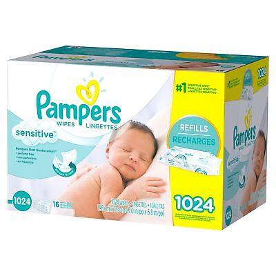 Pampers Sensitive Skin Baby Wipes bulk 1024 ct 16 Refill Packs