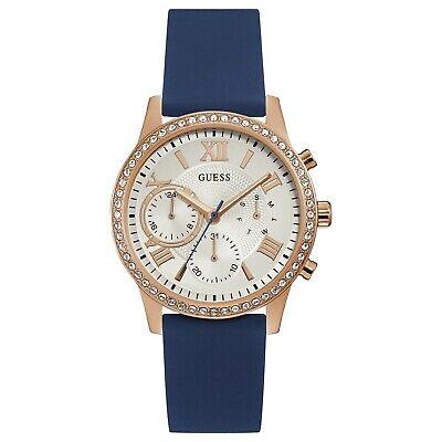 Guess Women's Gold Tone Stainless Steel & Blue Rubber Quartz Watch W1135L3