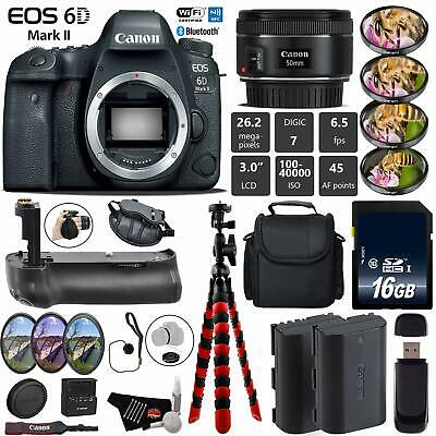 Canon EOS 6D Mark II DSLR Camera +50mm 1.8 STM Lens + Professional Battery Grip